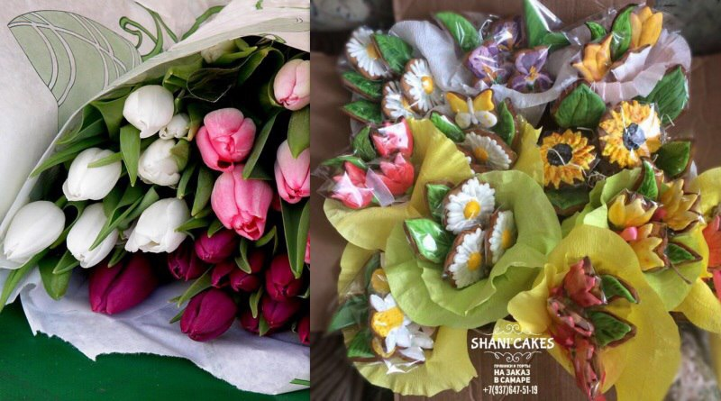 Букет цветов к 8 марта из пряников