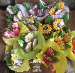 Букет цветов в подарок из имбирных пряников ручной работы