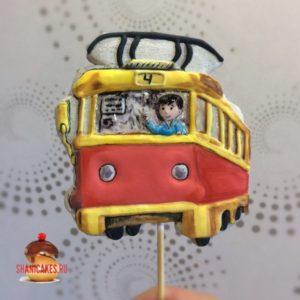 топпер на торт с трамваем