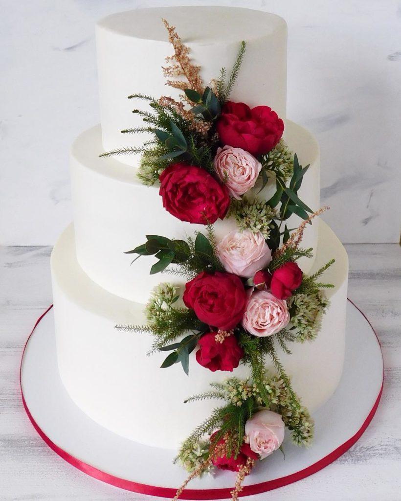 торт с цветами без мастики