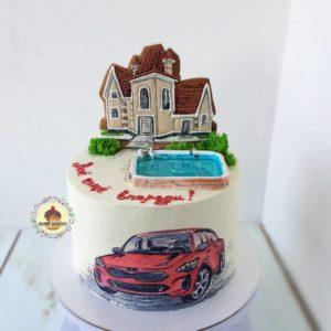 брутальный торт с автомобилем рисунок с пряниками