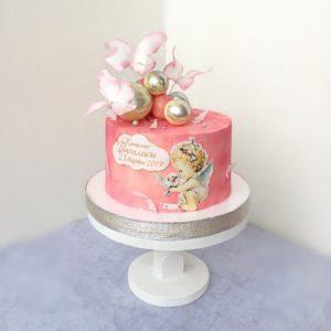 Торт на крещение с ангелочком