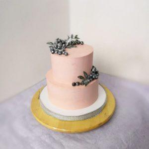 розовый торт 2 яруса