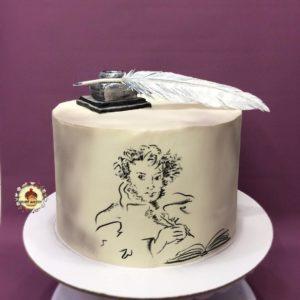 торт для любителя поэзии с рисунком пушкина